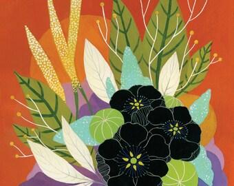 Anemone and Vermillion Floral - Fine Art Print 11x14