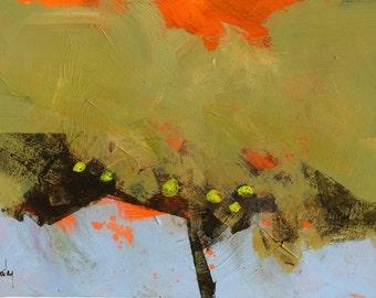 Original geometric abstract minimalist tree painting - Low slung fruit
