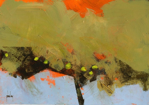 Original abstract tree painting - Low slung fruit