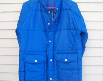 70s Bright Blue Puffy Winter Coat By Swingster Size Small