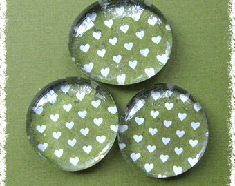 Glass Pebble Magnets -  Green background with tiny white hearts, Set of 3 -- Kitchen Magnets - Office Decor - Magnet