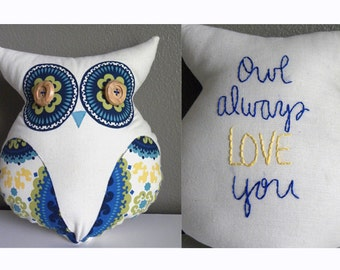 SALE! Owl Always Love You--LARGE Plush Owl Lovey in blue and yellow
