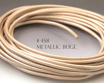8 inches Metallic leather cord 3 mm Core leather cord 3mm beige cord beige leather pink leather ivory cord