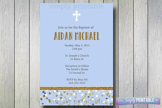 Baptism Invite, 1st Communion Invitation, Gold Blue Boys Invitation