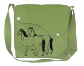 Grass green cotton canvas messenger bag with hourses printed, crossbody bag, canvas purse