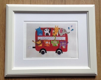 SALE - 'Off to the Zoo' A4 Fine Art Giclee Print from original felt textile design, nursery art, baby gift, childs room, kids room