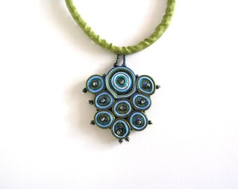 Textile necklace turquoise, fabric pendant green, fabric necklace beaded, gift for woman, gift for her - Textile jewelry ready to ship