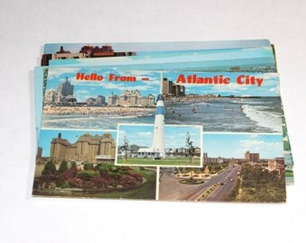 9 Vintage Atlantic City New Jersey Chrome Postcards Used