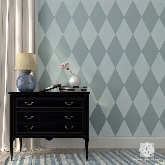 Large Harlelquin Wall Stencil Harlequin Stencil For A Modern