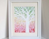 Green, Yellow and Coral Tree Print, 8x10 or 5x7 Nursery Art