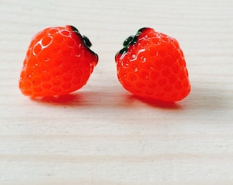 Realistic juicy bright red strawberry earrings