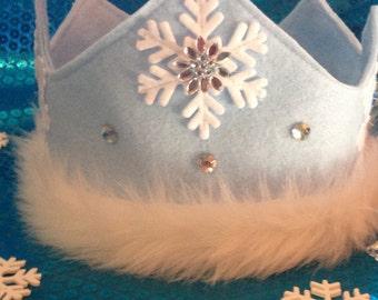 Princess Tiara Crown,Felt Crown,Ice Princess,White Ice Queen