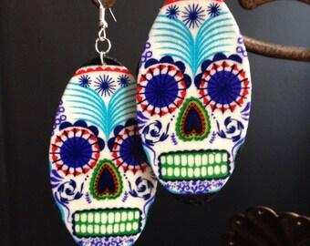 Sugar Skull Earrings (dia de los muertos) white