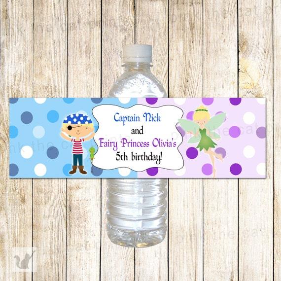 Piratas hadas botella etiqueta envolturas - puntos púrpuras azules ...