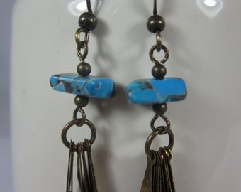 Antique Brass and Turquoise Fan earrings