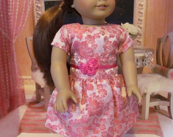 Satin Dress, Brocade Dress, Party Dress, Doll Dress, 18 inch Doll Dress