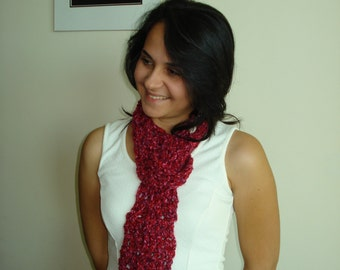Small Handmade Classic Crochet Scarf Berry Mix