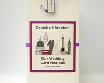 personalised London themed wedding card post box