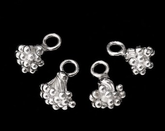 4 of Karen Hill Tribe Silver Berry Charms 7x8 mm. :ka3061