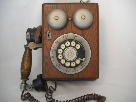 Vintage Phone Wood Wall Mount Rotary Phone Antique