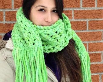 Lime Green Chunky Wool Lace Scarf - Long Chunky Hand knit Scarf with Lace
