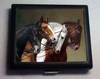 Race Horses Vintage Art Black Metal Wallet Cigarette Case  No. 1491