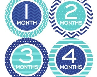Baby Month Milestone Stickers FREE Baby Month Sticker Baby Monthly Stickers Baby Boy Bodysuit Sticker Baby Gift Chevron Navy Blue Teal 069B