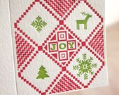 Letterpress Christmas card, Jumper for joy, Christmas Candy. Swedish ugly sweater in red and green. Made in Australia