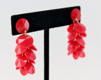 Vintage Opaque Bright Red Plastic Beaded Pierced Dangle Cluster Cha Cha Retro Earrings