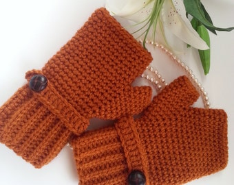 Crochet fingerless gloves in rust, wrist warmers-Winter Gloves
