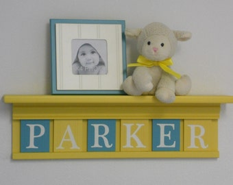 Yellow and Turquoise Nursery Wall Decor Personalized Name Shelf with Wooden Letters in Teal / Yellow, Baby Girl Nursery Decor