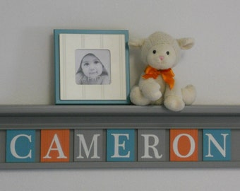 Teal, Gray and Orange Name Shelves Customized Grey Shelf with Nameplates Personalized Baby Nursery Wall Decor, Unique Shower Gift