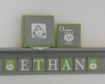 Owl Baby | Bird Decor Nursery | Boy Name Sign | Personalized Light Green / Gray Letter Plaques on Grey Shelf