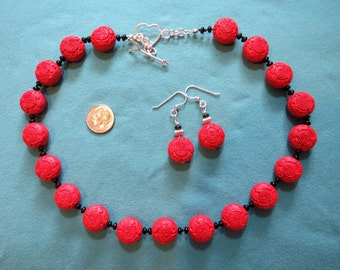 Bright Red Cinnabar Puff Beads 19 Inch Necklace & Earrings