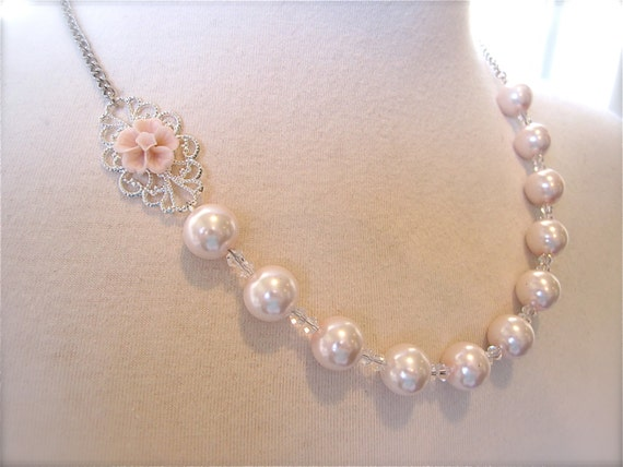Bridesmaids Jewelry Asymmetrical Wedding Necklace Blush pink Flower Pearls necklace Wedding Jewelry whimsical boho chic vintage style