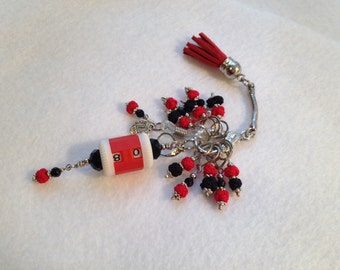 Red & Black Asian Silk Love Knot Knitter's  Chatelaine with Red Suede Tassel Fob