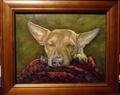 Custom Dog Art 8x10 framed Custom Pet Portrait Painting of your Dog from your photos