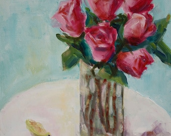 Original oil - rose painting - flower still life - small painting - pink flowers in a vase - fine art floral - home decor - wall art -