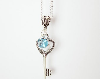 Silver Heart Key Charm Necklace Swarovski Crystal Heart Key To My Heart  You Choose Heart Color