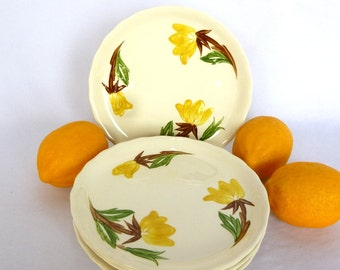 Vintage AMERICAN BEAUTY PLATES/ set of 6/ Yellow floral plates/ usa pottery/ Canonsburg