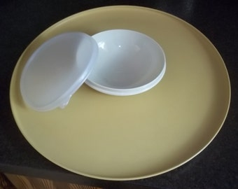 Vintage Tupperware Harvest Gold Relish Tray with Sheer Classic dip tray in middle with lid