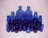 c1890s -1930s Group of 27 Embossed Cobalt Blue Glass Medicine Bottles, Great Wedding Decor No. 4