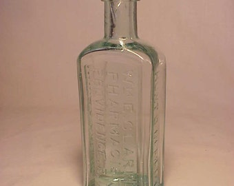 c1880s Wm. Clarke Pharmacist Providence, R.I. , Aqua Blown Glass Medicine bottle No. 2