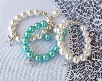 Flower Girl Jewelry Baby Girl Bracelet Pearl Rhinestone Bracelet STARFISH Crystal Beach Wedding Jewelry Ivory White BL040LX