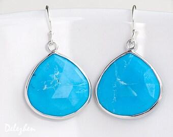 Turquoise Earrings - Sterling Silver Bezel Gemstone Earrings - December Birthstone Jewelry - Drop Earrings
