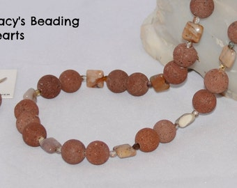 Red lava beads, fancy jasper squares, faceted crystals, handmade and unique necklace set by STACY'S BEADING HEARTS