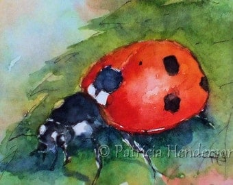 LADYBUG Original Watercolor ACEO painting