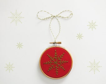 Christmas ornament, Embroidery Christmas tree decor, holiday décor, snow flake, Red and Green Christmas decoration, stocking stuffer - 3""