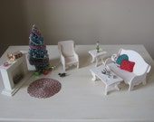 Miniature Dollhouse Furniture Christmas Living Room Set with Accessories