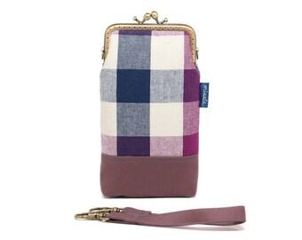 Purple plaid smartphone kisslock sleeve